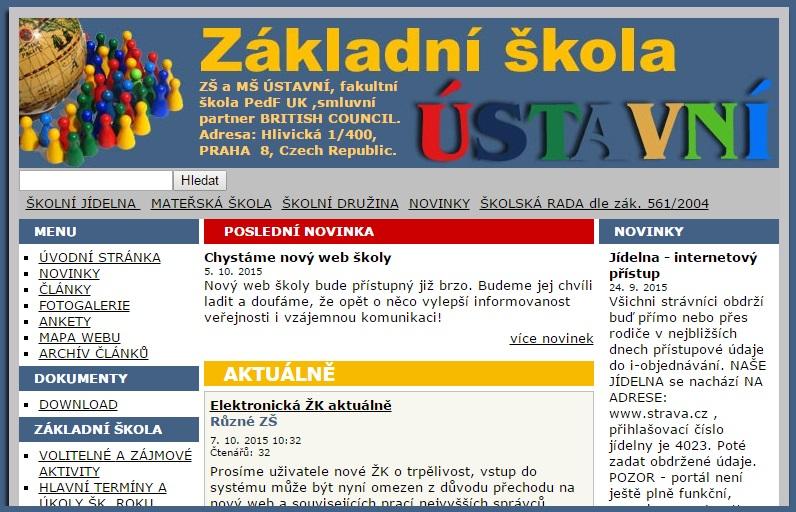 Původní web školy